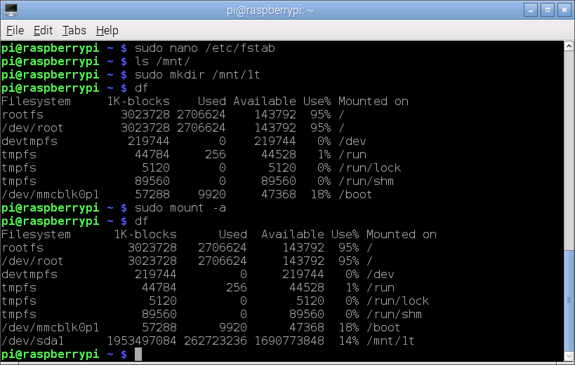 Once the removable disk is in the file-system table (/etc/fstab), mount -a will read the config