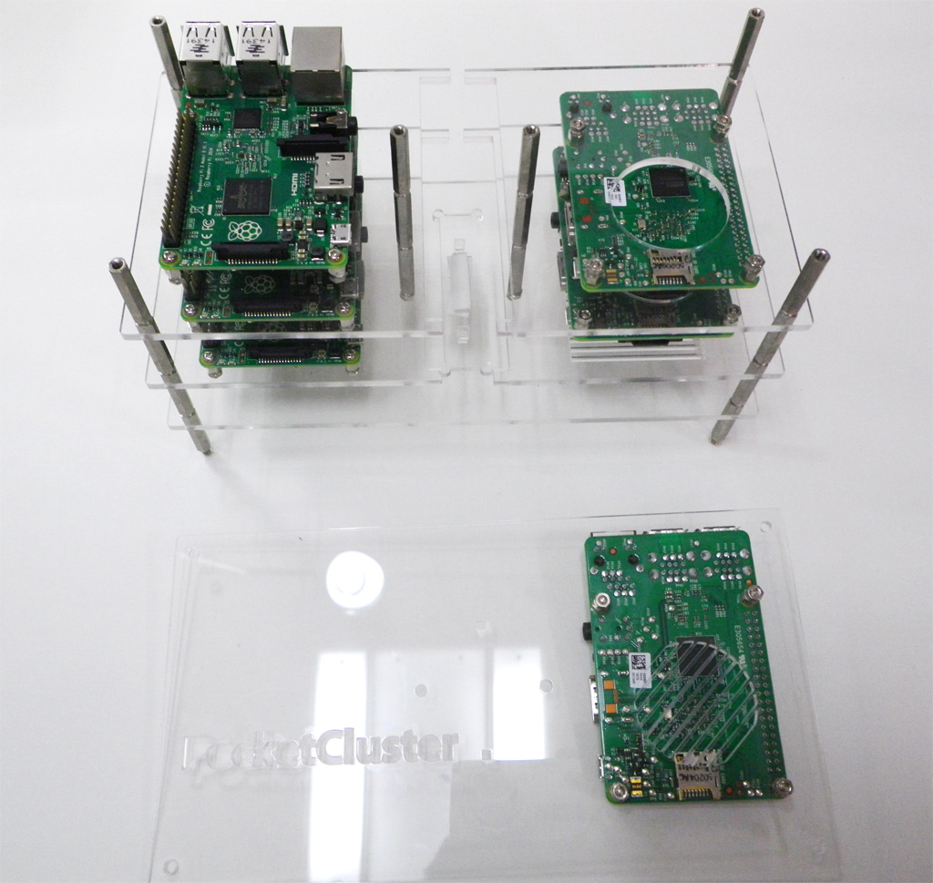 The cluster is made using a custom casing found on the GitHub