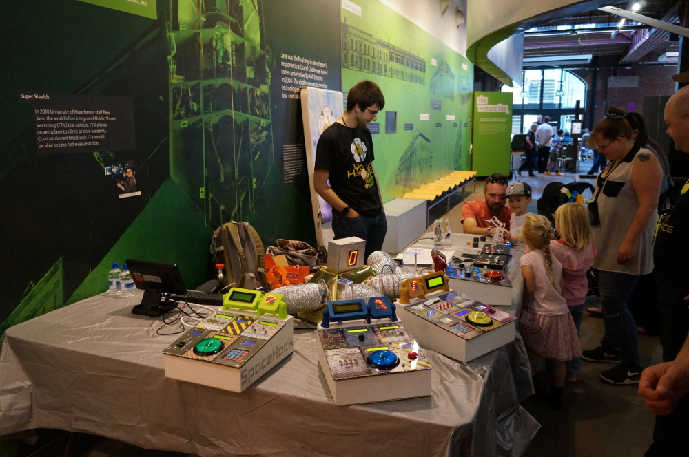 SpaceHack's retro-futuristic look seemed a natural fit in the MakeFest setting