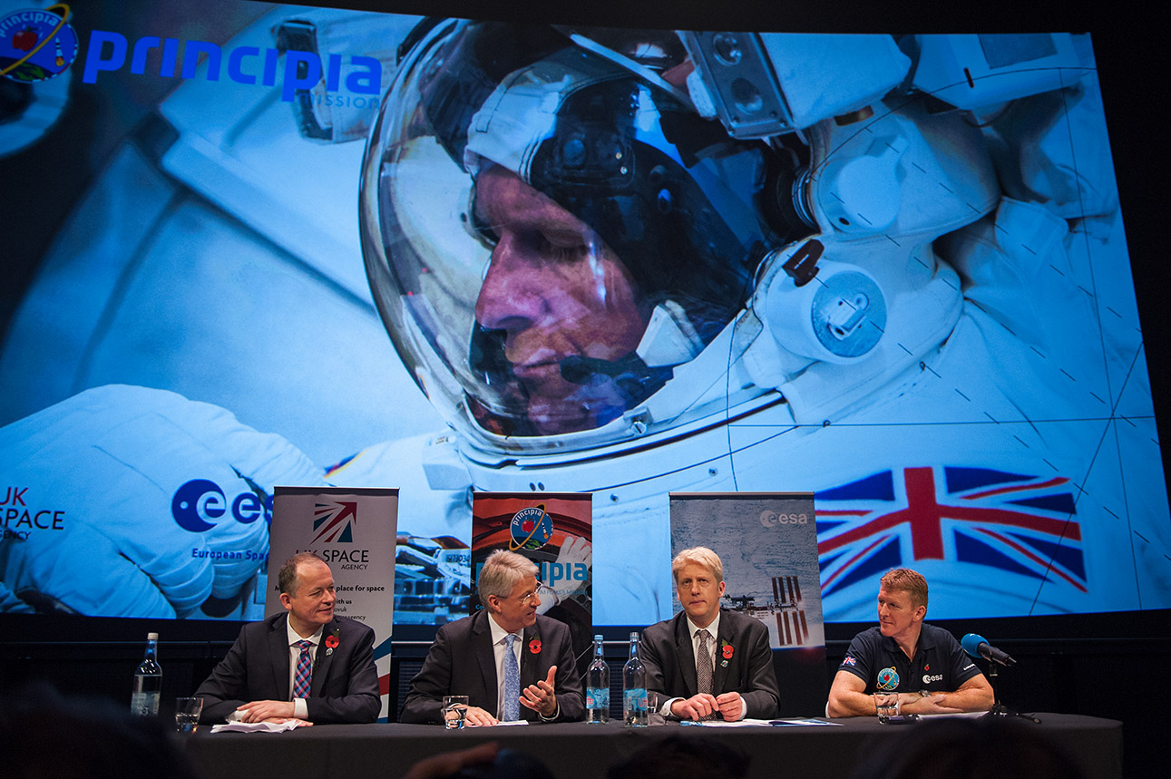 Tim Peake (far right) attends the final press conference before launch
