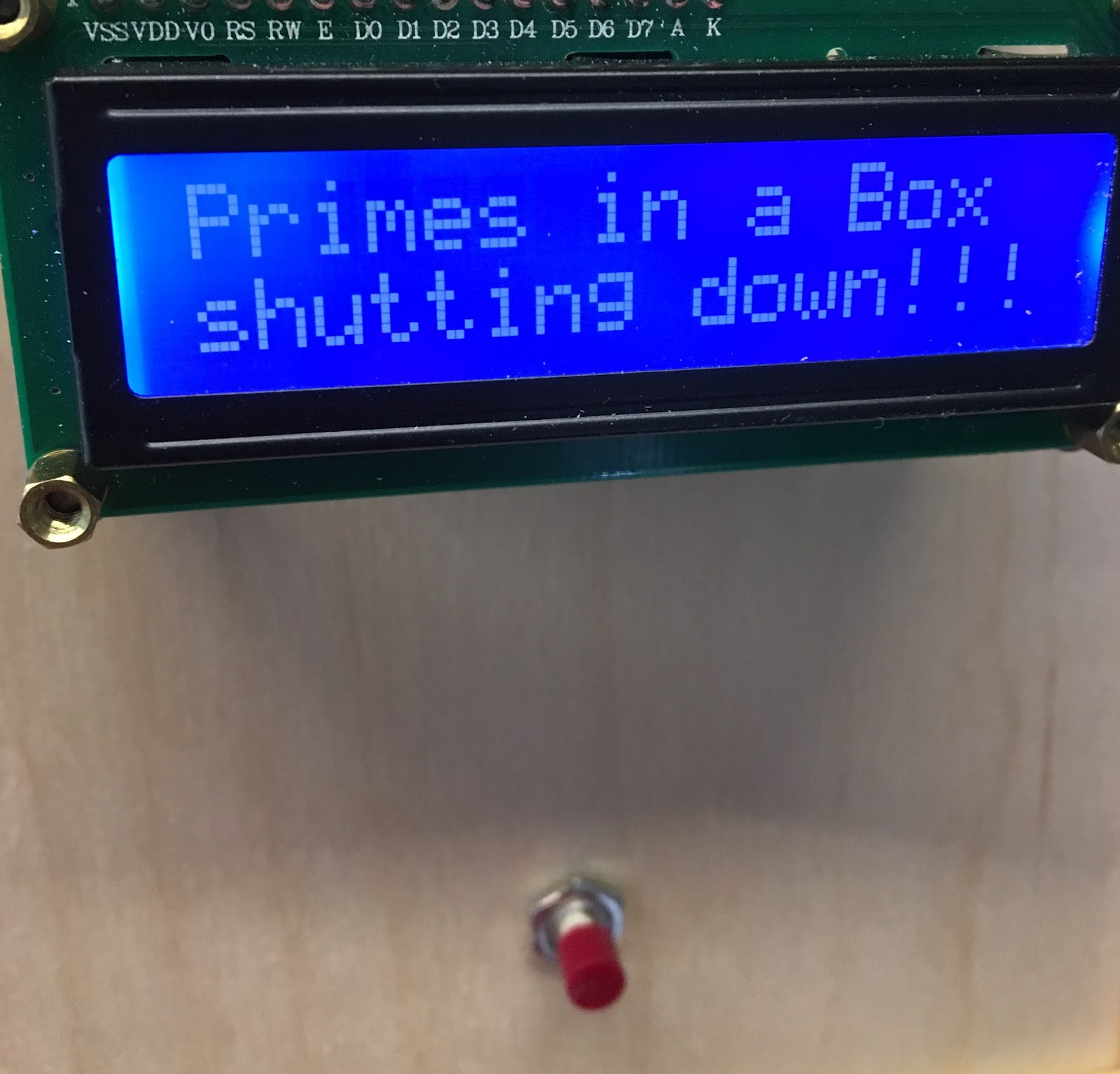 The button used to generate primes