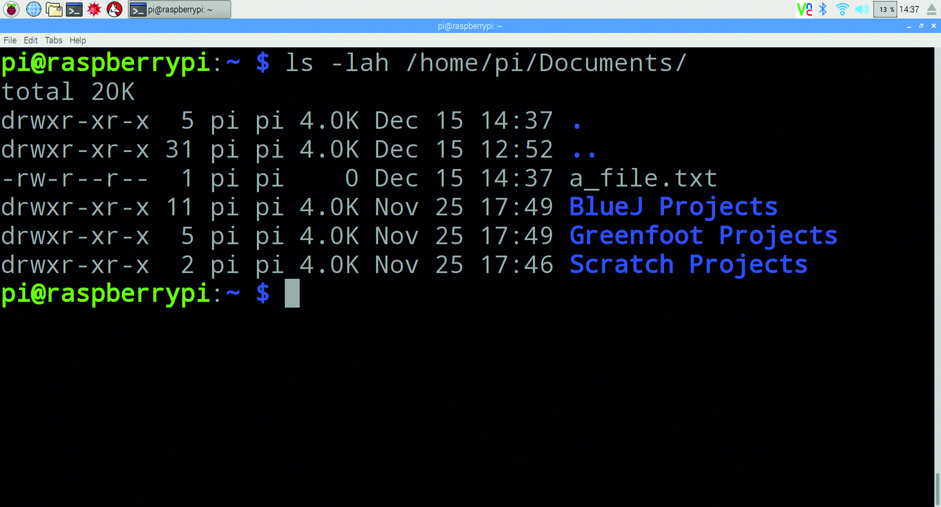 Using the ls (list) command with the options -lah to list all hidden files