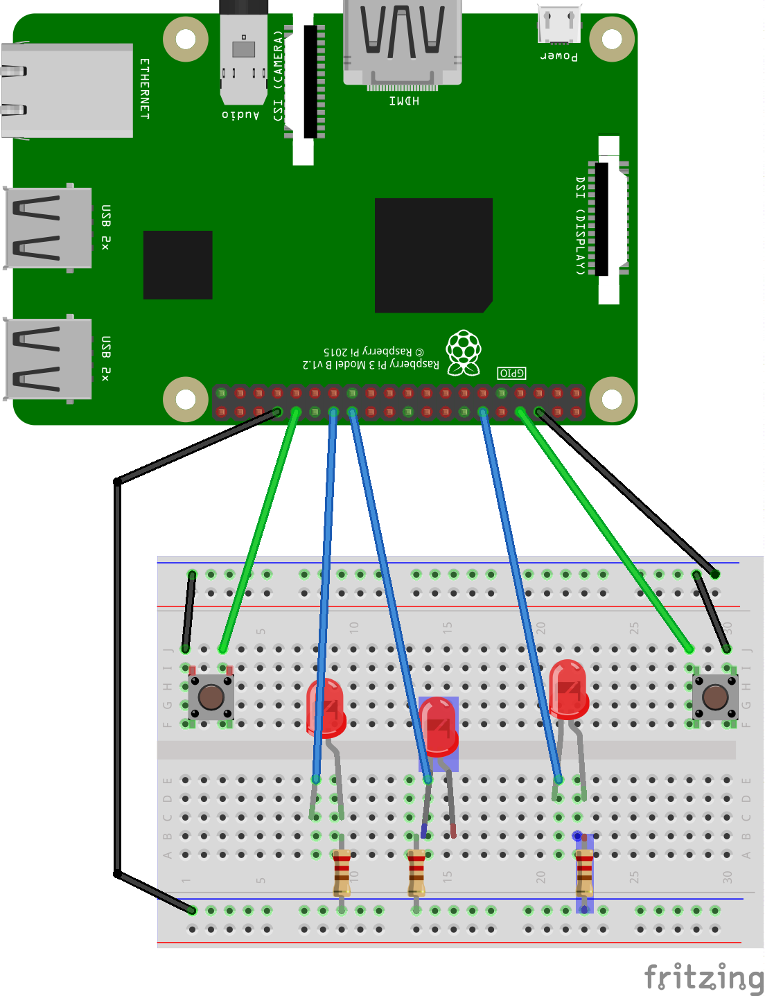 Here's the circuit for the code