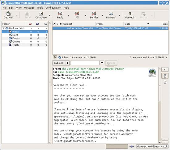 Raspberry Pi Desktop PC: Claws e-mail on Raspberry Pi
