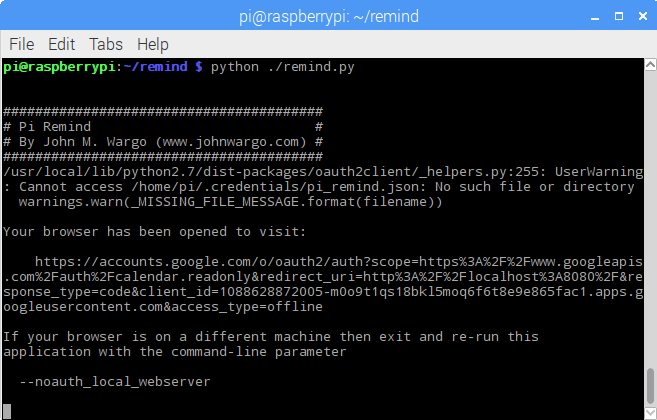 Initial loading of the Pi Reminder app requires access to your Google Calendar account