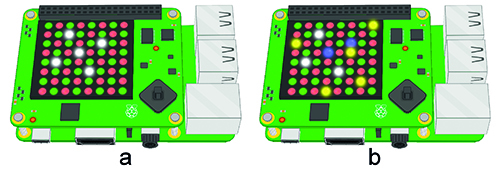Figure 4 The incomplete puzzle in Figure 4a can be solved by moving the cursor under one of the queens and pressing the joystick button. The white queens in Figure 4b were placed correctly, the blue queens were in the wrong place, and the yellow queens are the ones you needed to place in order to complete the puzzle