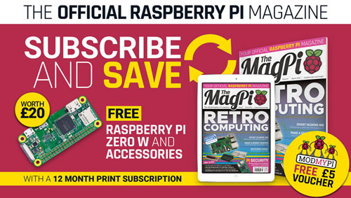 Free £5 Voucher for all subscribers and Pi Zero W with 12-month subscription