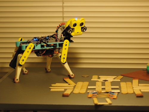 An early iteration of OpenCat, using modelling sticks to make the body