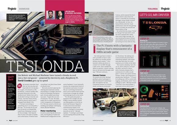 Teslonda is a Honda car rebuilt using a Tesla power train. The dashboard is built using a Raspberry Pi