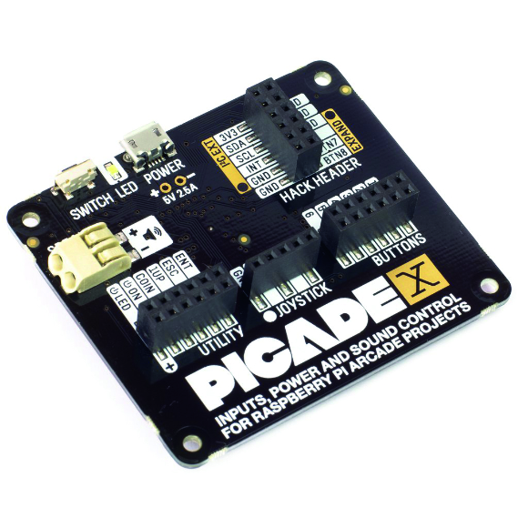 The Picade X HAT has easier-to-use connections, including a 'Hacker' header