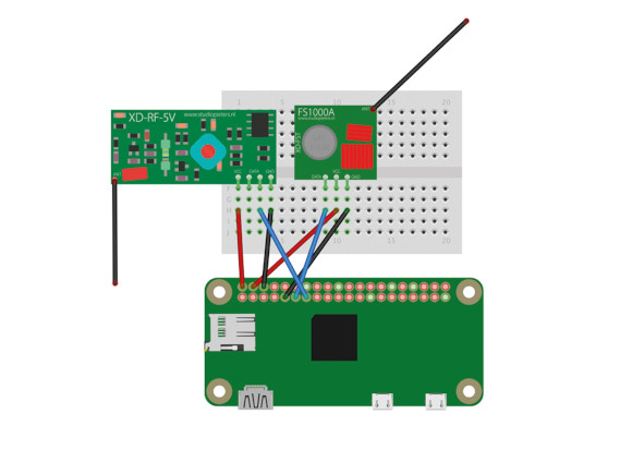 Circuit diagram: The pair of transceivers do not require any additional components and can be wired straight to the GPIO