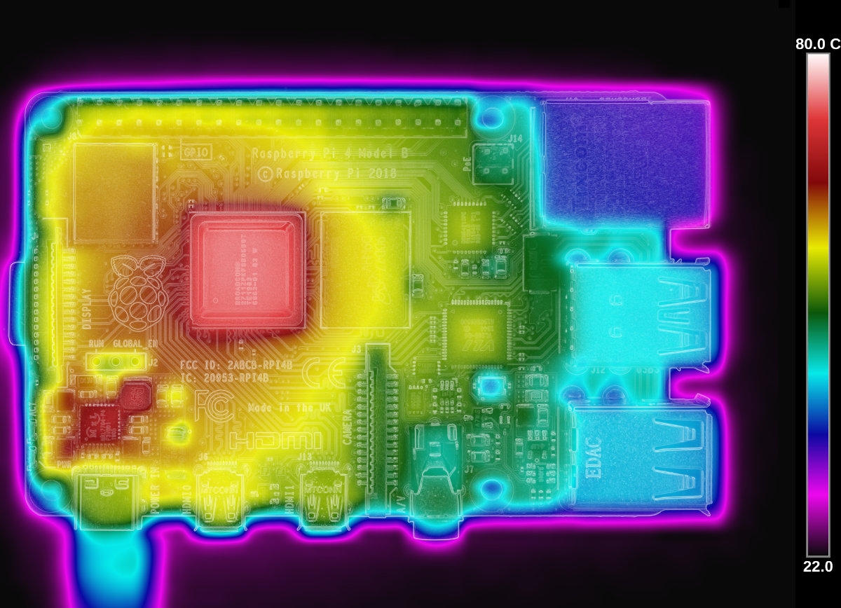 Raspberry Pi 4 thermal image (above)