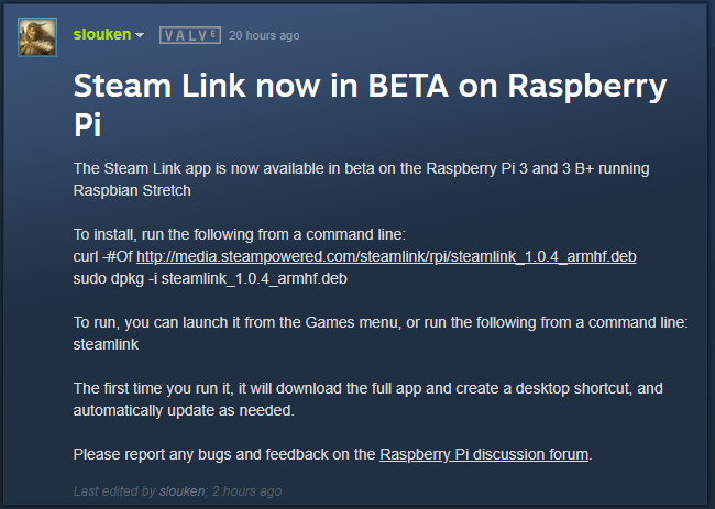 Steam Link on Raspberry Pi is very important