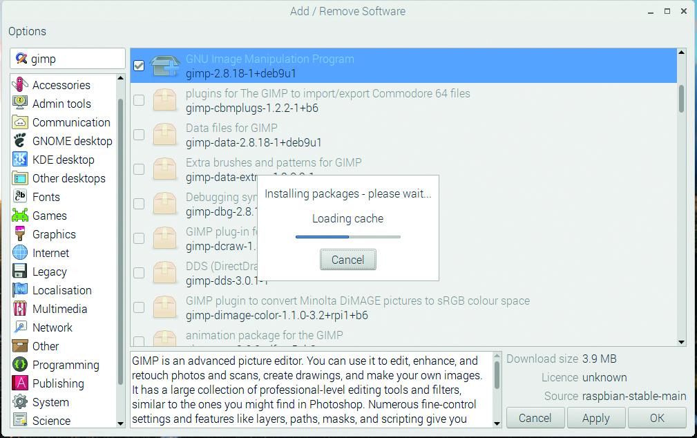 It's easy to install apps in Raspbian