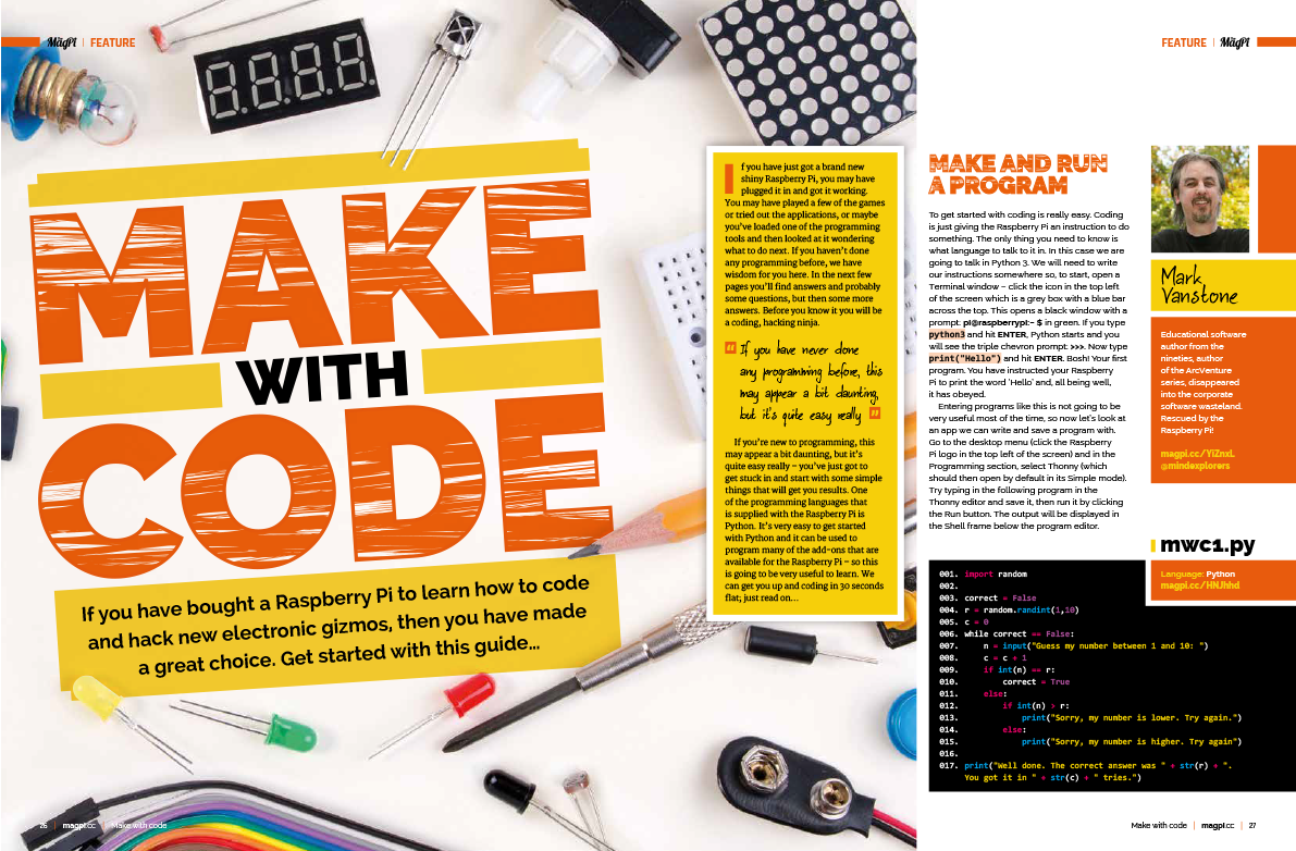 Make with Code in The MagPi magazine 77
