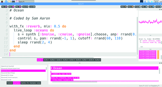 Make music with code using SonicPi on a Raspberry Pi