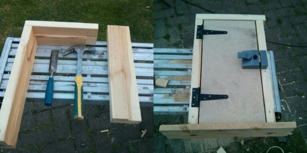 Conor built a small door for his project, although it uses a full‑size lock