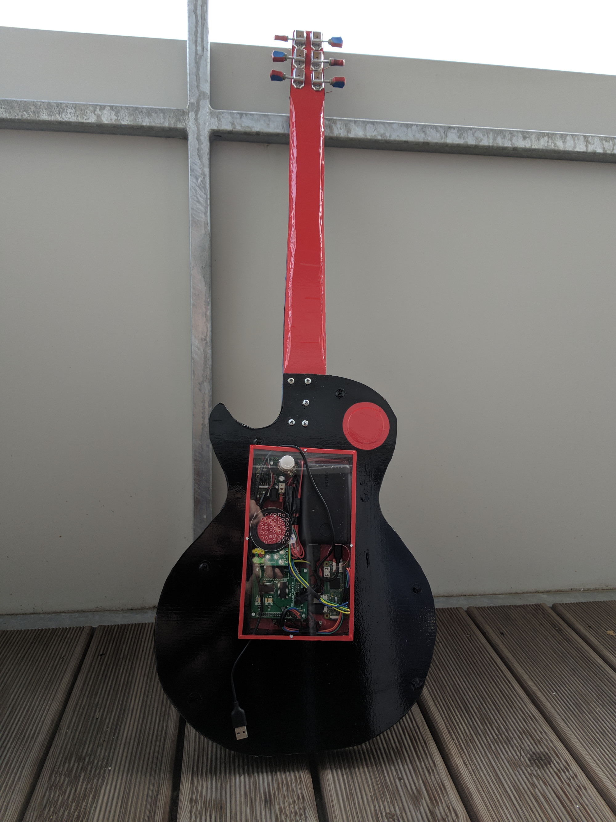 A rear view of the completed Puitar, showing the Pi Zero enclosed by a piece of Plexiglas