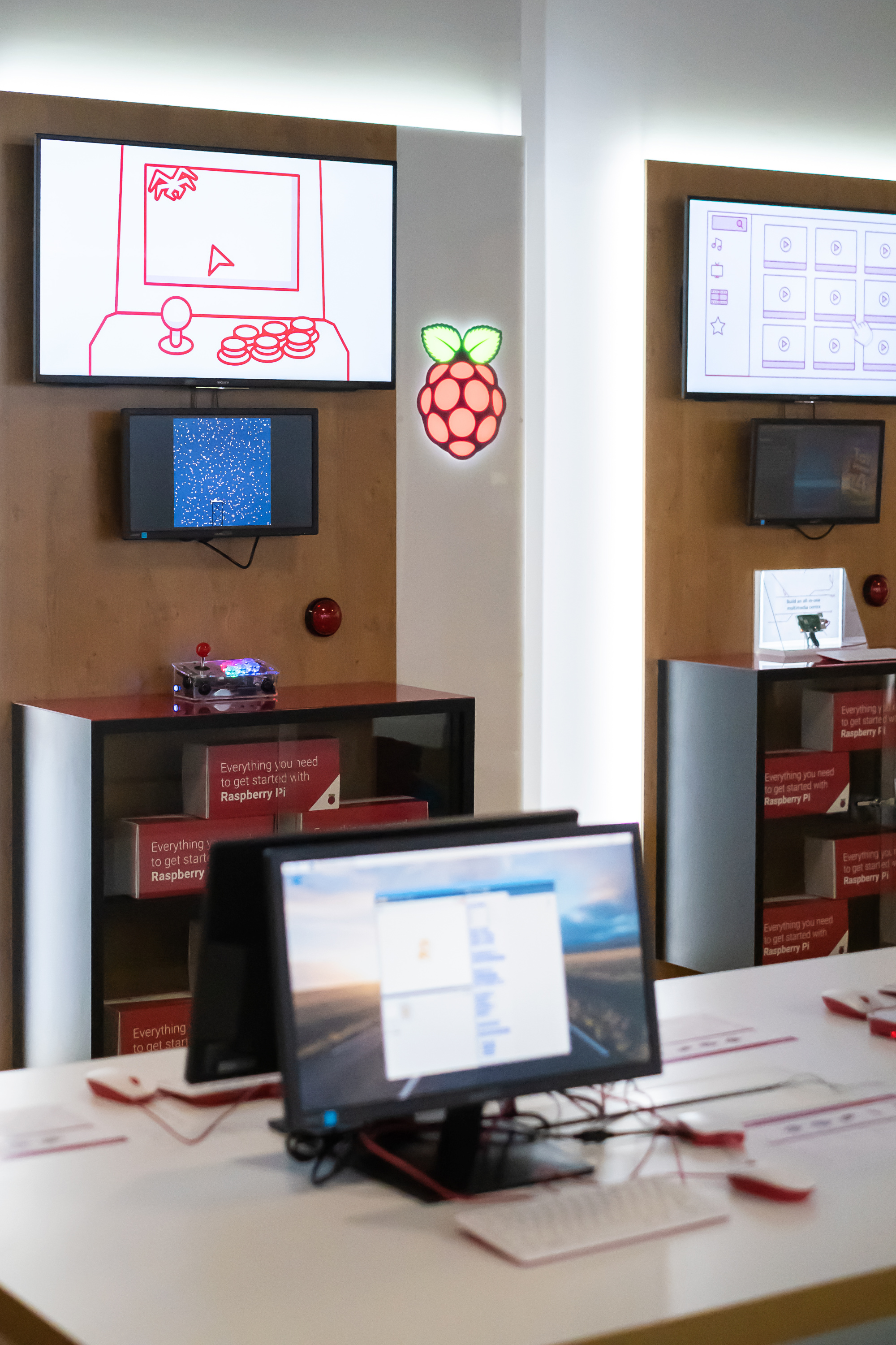 Project booths are used to demonstrate Raspberry Pi coding and making