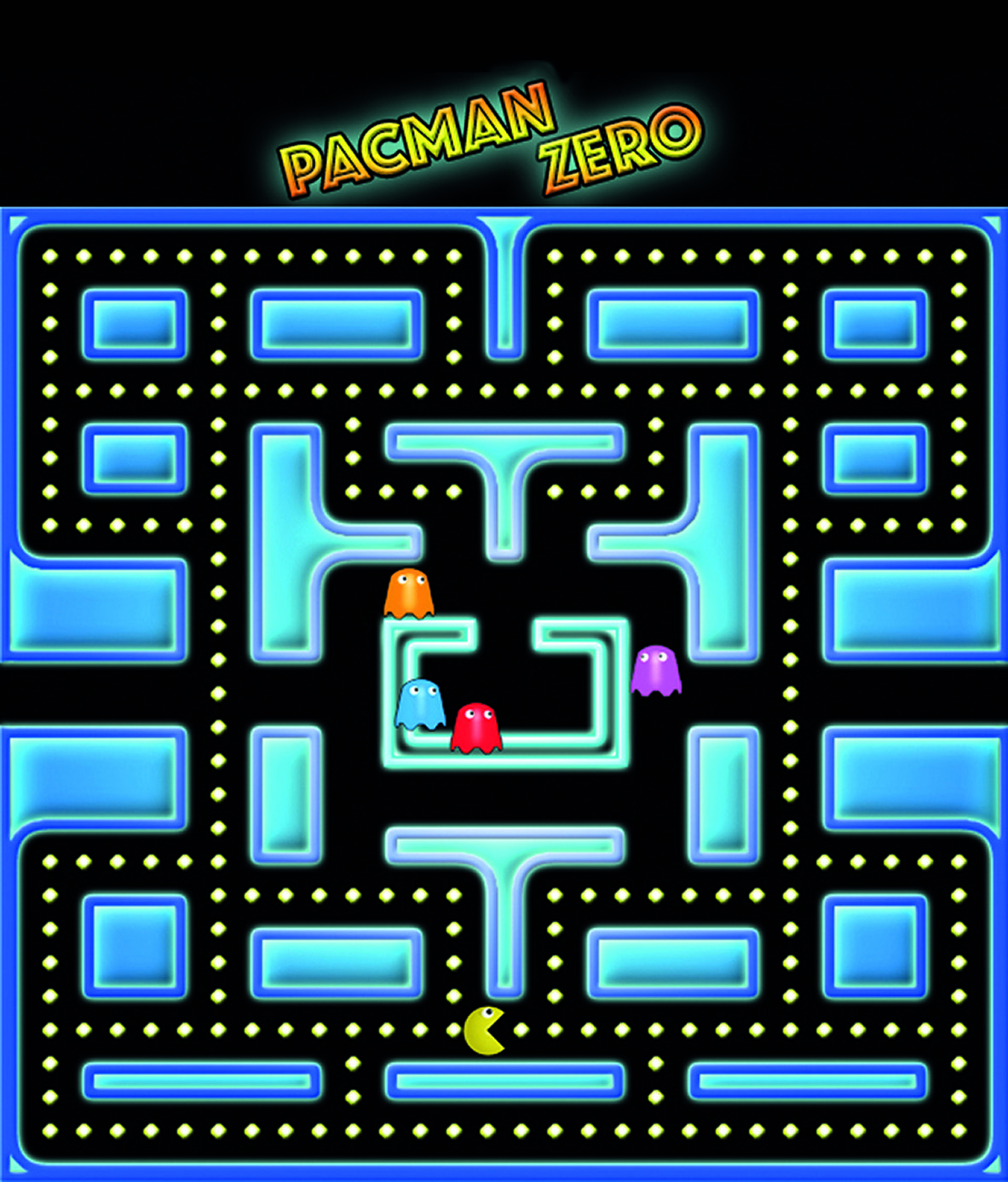 The maze is made of corridors and maze walls. Ghosts move around the maze, looking for Pac-Man. The player is represented by the Pac-Man character that moves around the maze, eating dots