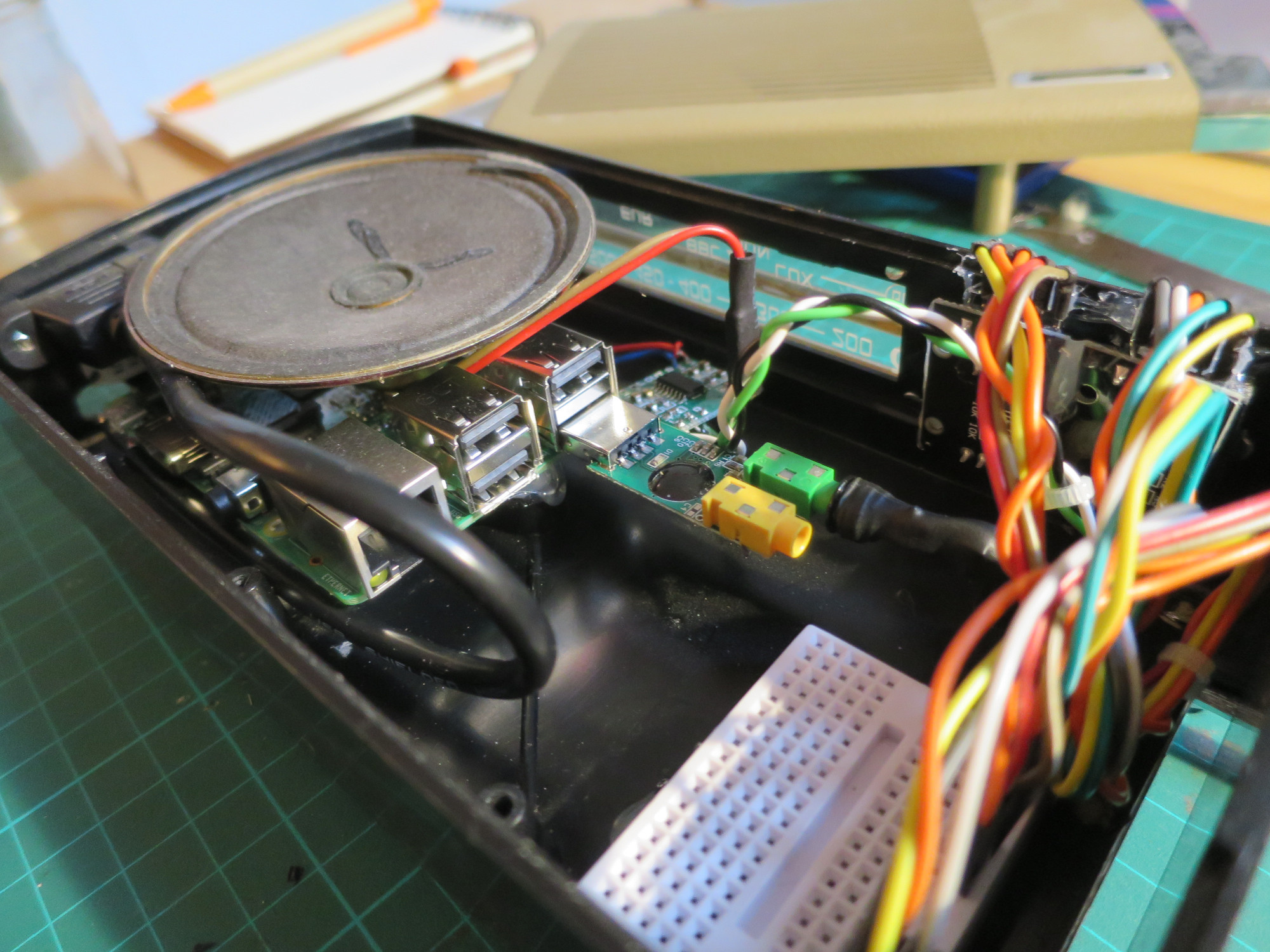 Inside the radio. Note the stripped-down USB audio card used to offload the audio processing