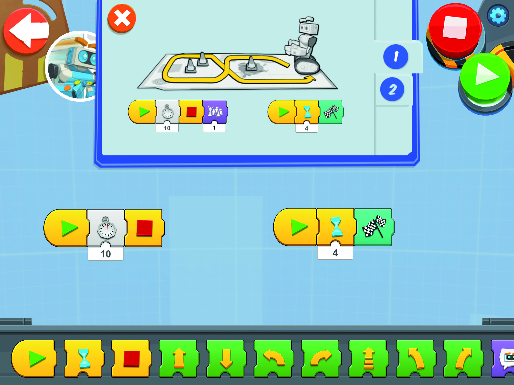 Figure 2 The Lego Boost program environment running on an iPad or Android