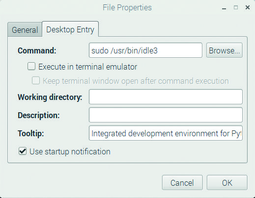 Figure 6a Changing the command so that IDLE will run in supervisor mode