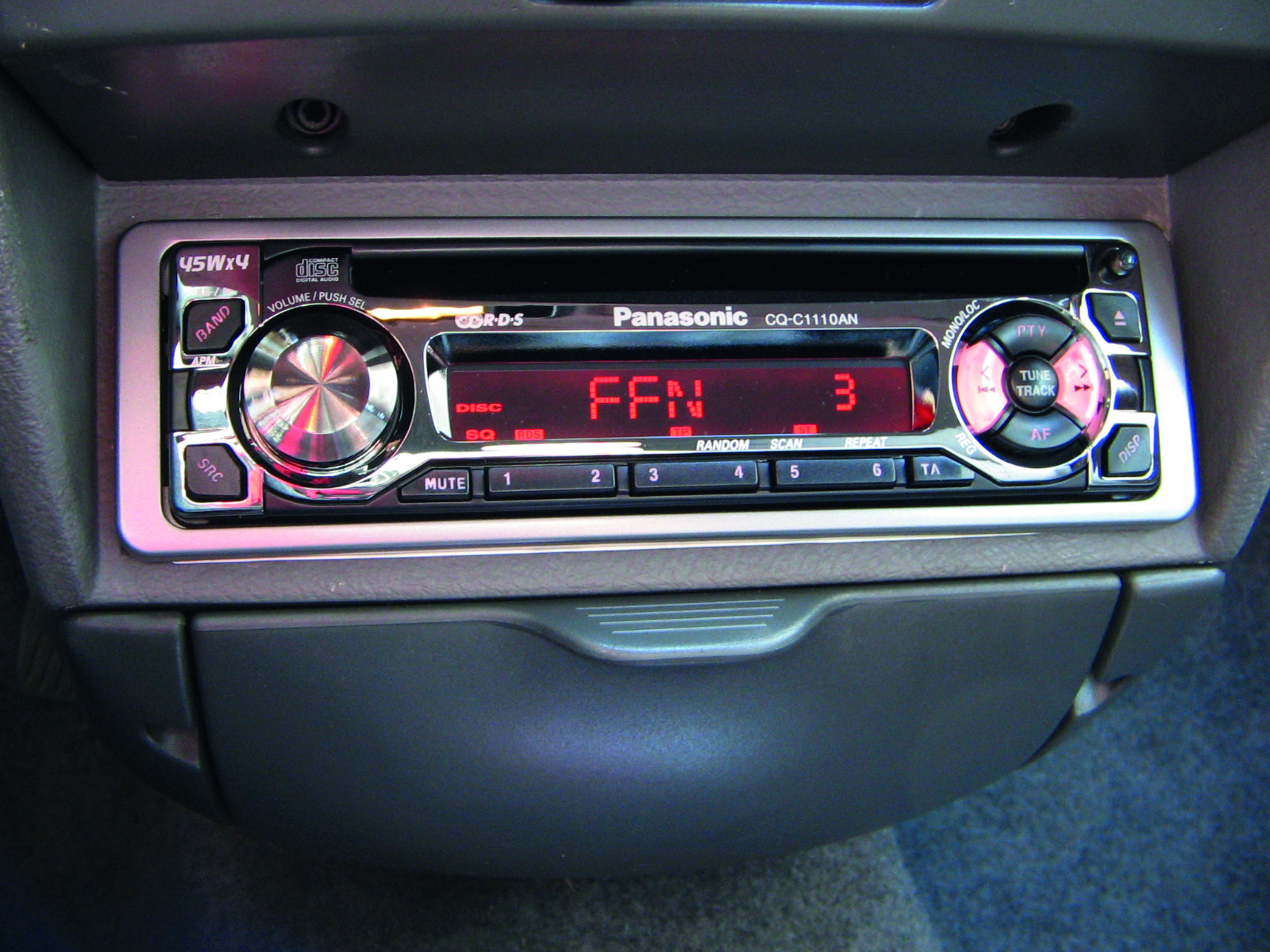 A classic CD/stereo head unit, removable to deter enterprising thieves