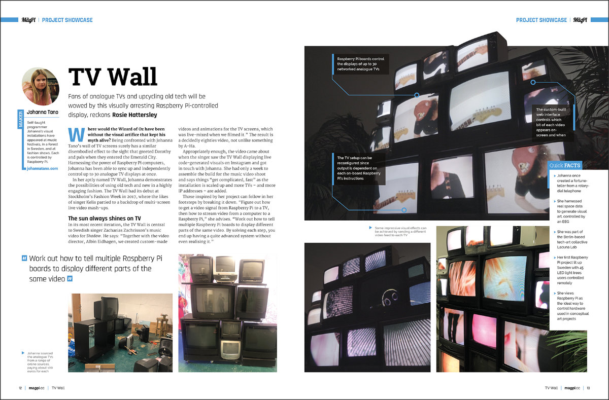 TV Wall project showcase in The MagPi #83