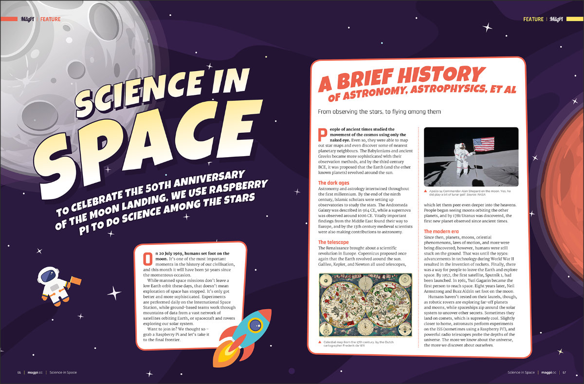 Science in Space projects in The MagPi #83