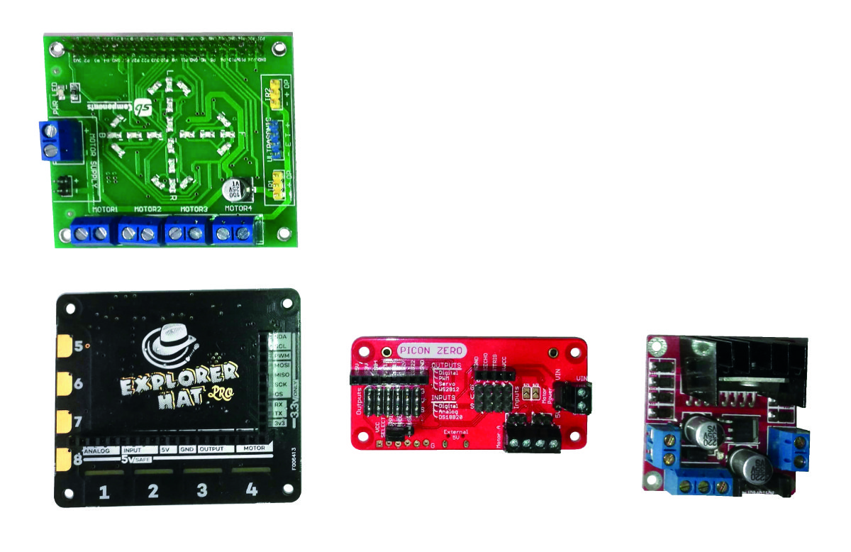A selection of motor controllers. The DRV883 and L298 are small and cheap, with the larger types having more features